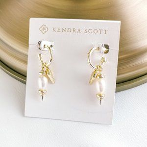 Demi White Baroque Pearl Huggie Earrings Set Gold
